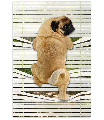 Pug Climbing Out Window Vertical Canvas - Family Presents - Great Blanket, Canvas, Clothe, Gifts For Family