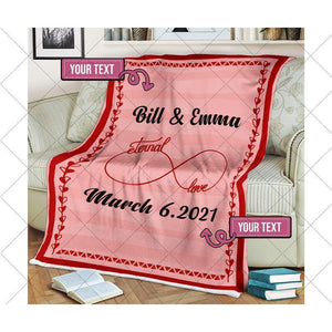 Personalized Blanket, Our First Valentine Engaged Blanket, Blanket For Couple, Valentine Gift For Wife Husband - Family Presents - Great Blanket, Canvas, Clothe, Gifts For Family
