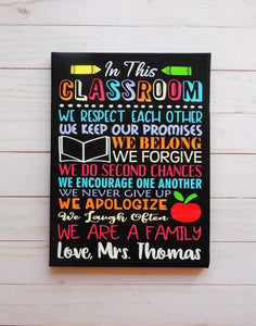 Classroom Rules Custom Painted Teacher Canvas Sign - Back to school - Teacher labor day gift