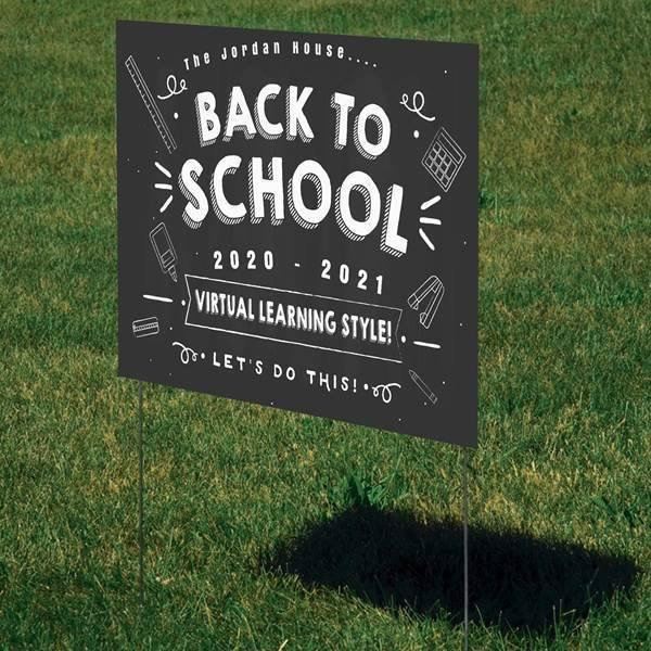 Personalized Yard Sign - Back to school Virtual learning style - Custom family name