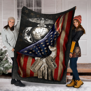 Custom Blanket U.S. Marines Flag Personalized Blanket