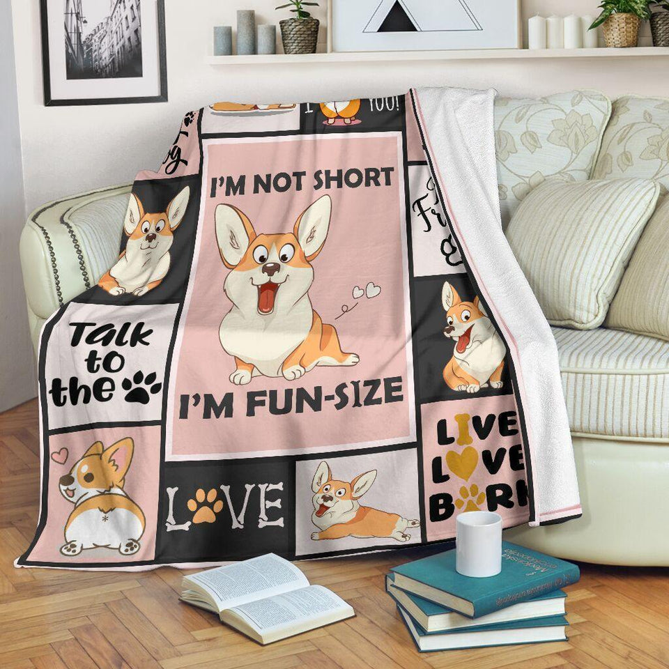 Dog Blanket I'm Not Short I'm Fun Size Corgi Dog Fleece Blanket