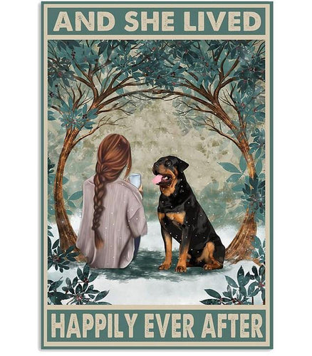 Rottweiler Happily Ever After Vertical Canvas - Family Presents - Great Blanket, Canvas, Clothe, Gifts For Family
