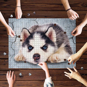 Lovely dog - husky Puzzle - Gift for son/daughter, for dog lovers - Family Presents - Great Blanket, Canvas, Clothe, Gifts For Family