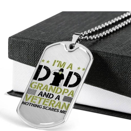 Personalized Fathers Day Necklace, Gift For Dad From Daughter Or Son - Military Style Dog Tags - I Am A Dad Grandpa And A Veteran