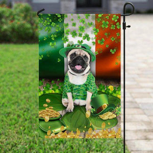 Pug St. Patrick's Day Flag - Family Presents - Great Blanket, Canvas, Clothe, Gifts For Family