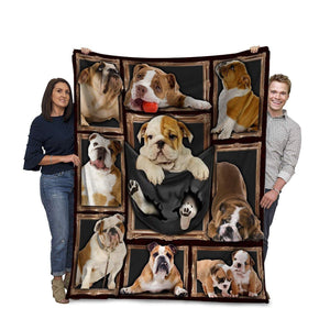 Dog Blanket 3D English Bulldog Picture Frames Fleece Blanket