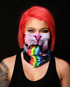 Cat & Rainbow Print Face Gaiter Cover Magic Scarf Headwrap Balaclava