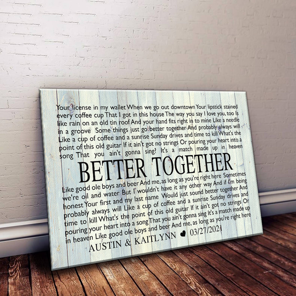 Personalized Wedding Gift Wall Decor Custom Anniversary Gift Any song lyrics CANVAS Gift for her Gift for him Bedroom Wall Art