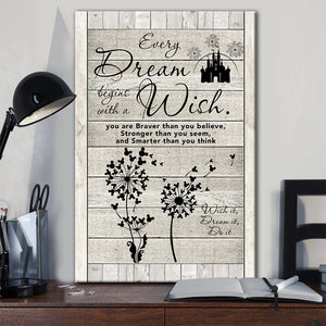 Daughter Canvas, Gift From Dad Mom, Dandelion & Mickey Every Dream Begins With A Wish Wood Frame Canvas