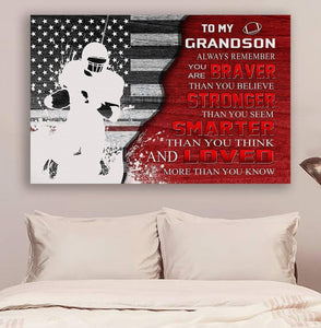 (cv848) LDA American football canvas - to grandson - always remember