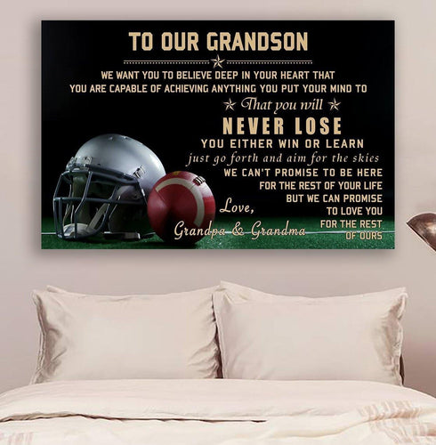 (cv907) American football canvas - to our grandson - never lose LDA