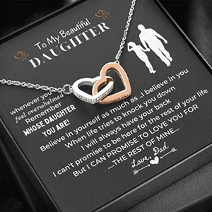 Heart necklace - A Daughter Necklace from Dad - I can promise to love you for the rest of mine - Christmas, birthday gift - Family Presents - Great Blanket, Canvas, Clothe, Gifts For Family
