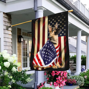 German Shepherd American Patriot Flag, Garden flag, house flag