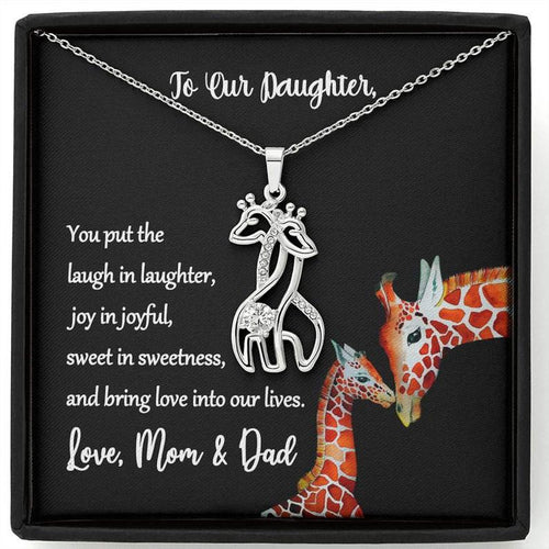 Giraffe Necklace To Daughter From Mom And Dad, To Our Daughter Giraffe Necklace, Love Mom And Dad, Giraffe Necklace, Giraffe Jewelry