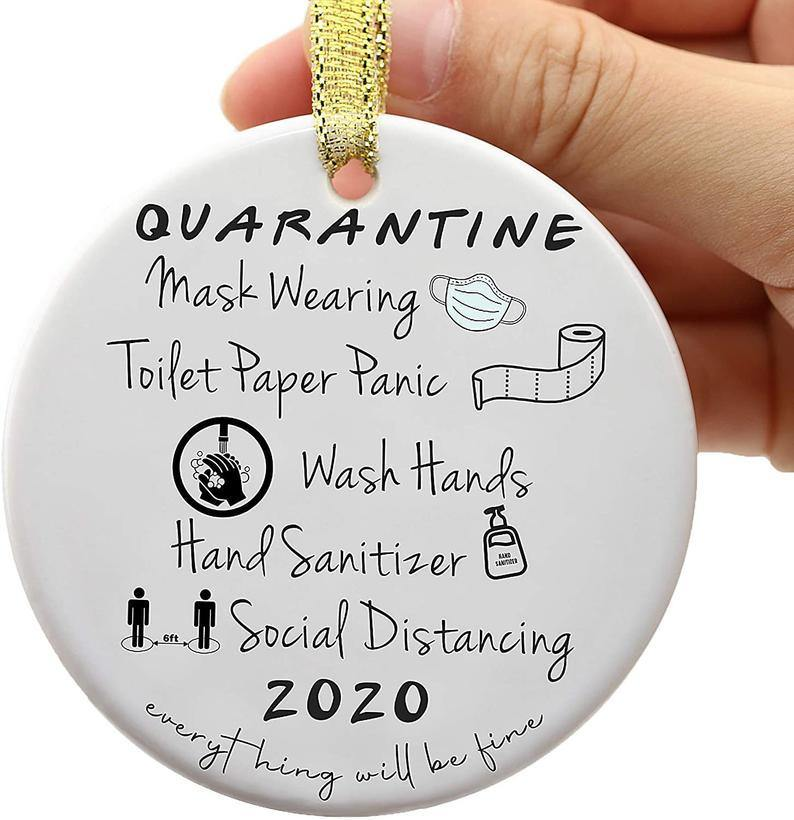 2020 Quarantine Ornament, Funny Quarantine Gift for Friends and Families, 2020 Event Ornament, 2020 Christmas Ornament Gift- Circle Ornament (2 sided)