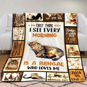 Bengal Cat Fleece Blanket - First thing I see every morning is a Bengal who loves me -  Anniversary Birthday Christmas Housewarming Gift Home