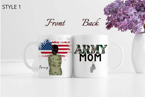 Personalized Mothers day White Mug - Gift for veteran mom from daughter and son - Proud Army Mom mug