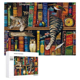 Cat Nap In Books Jigsaw Puzzles Brain Training Puzzles Daily Jigsaw Puzzle Games for Adults and Kids - Family Presents - Great Blanket, Canvas, Clothe, Gifts For Family