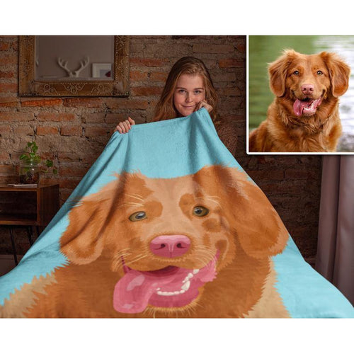Personalized Blanket -  Custom Pet Portrait Blanket gift - Cat/Dog Blanket - Blanket for Lover cat/dog, for Dog mom, for him/her - Christmas gift, Birthday gift - Custom with your photo