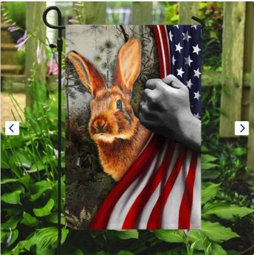 Happy Easter Bunny Rabbit American Flag House Garden Flag Canvas Custom Yard Flags Floral Home Decor, New House Gift Outdoor - Family Presents - Great Blanket, Canvas, Clothe, Gifts For Family