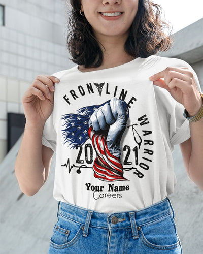 Standard Women's T-shirt, Frontline Warrior - Nurse - Personalized Ladies T-Shirt