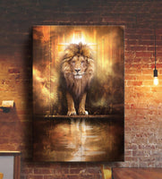 Canvas Wall Art, Lion And Jesus, Christian Canvas, Gift For Son, Easter Day, Wall Art, Gift For Family, Home Room Decor