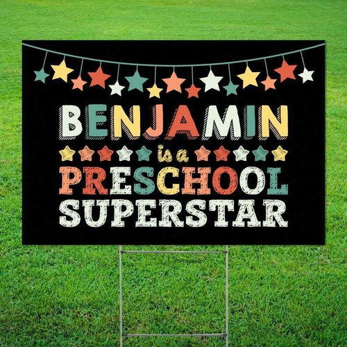 First Day of School Gift for Students . Preschool Superstar Yard Sign . Back to School Gift for Preschool Student . Social Distancing