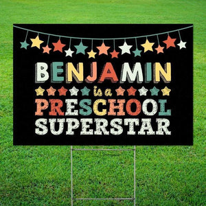 First Day of School Gift for Students . Preschool Superstar Yard Sign . Back to School Gift for Preschool Student . Social Distancing - Family Presents - Great Blanket, Canvas, Clothe, Gifts For Family