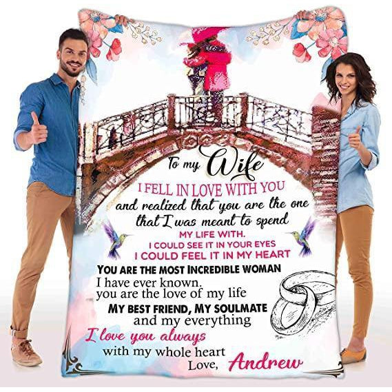 Customized Fleece Blankets for Wife with Husband's Name, Best Gift for Your Life Partner with Quotes - Valentine gift for her