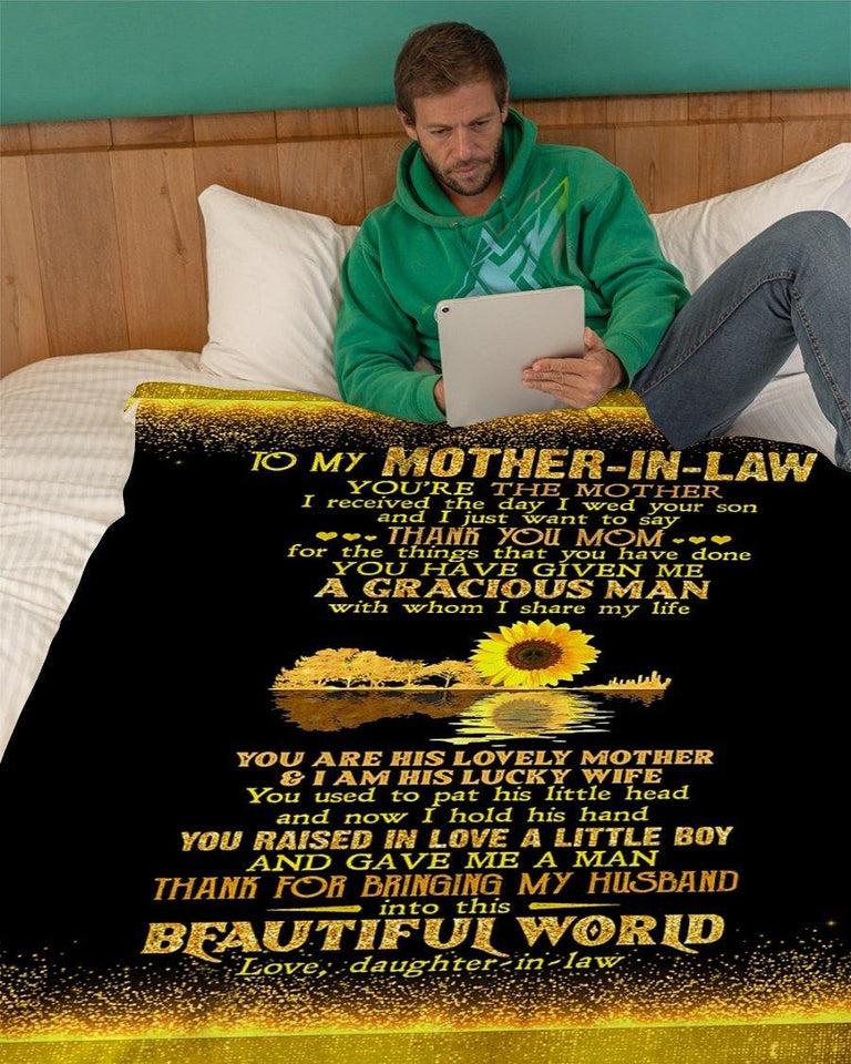 Blanket to mother-in-law - Sunflower blanket - Special gift for birthday, Christmas - Thank for bringing my husband into this beautiful world