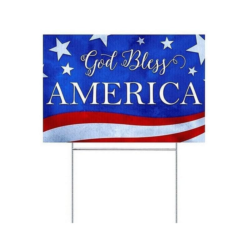 God Bless America Yard Sign with H-Frame Ground Stake
