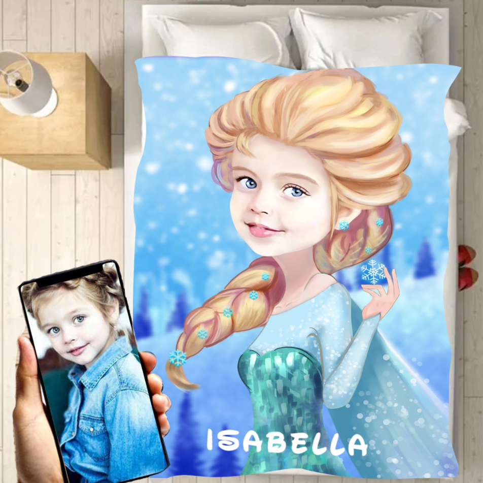 Personalized Kid Blanket - Personalized Hand-Drawing Kid's Photo Portrait EL-SA Fleece Blanket X - Childrens Gift for Her/Him Toddler Children's Blanket - birthday, christmas day- Custom your name and photo
