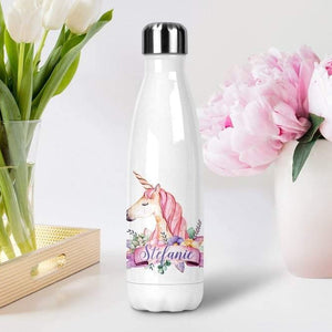 Custom Unicorn Gift, Unicorn Gift Flower Girl  Insulated Water Bottle - Family Presents - Great Blanket, Canvas, Clothe, Gifts For Family