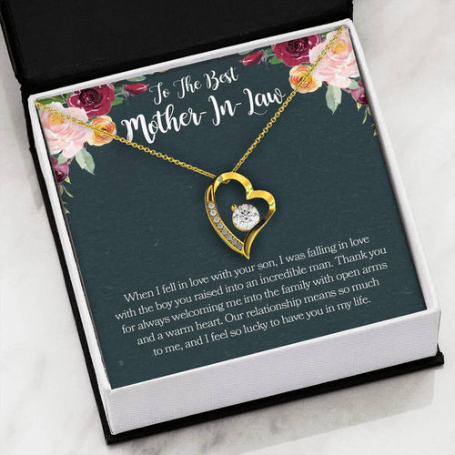 Mother's Day Heart Necklace, Gift For Mother In Law From Daughter In Law, 18k White Gold Necklace, Fell In Love With Your Son