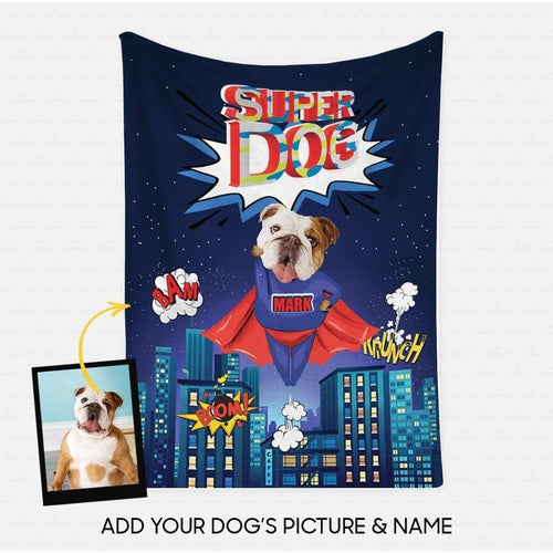Custom Dog Blanket - Personalized Creative Gift Idea - Superhero English Bull For Dog Lover - Fleece Blanket - Family Presents - Great Blanket, Canvas, Clothe, Gifts For Family