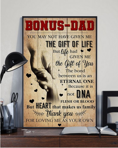Bonus Dad - Thank you for loving me as your own - Canvas - Family Presents - Great Blanket, Canvas, Clothe, Gifts For Family