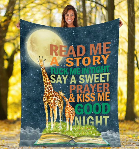 Giraffe read me a story - Fleece Blanket, gift for you, gift for her, gift for him on Valentine, gift for giraffe lover - Family Presents - Great Blanket, Canvas, Clothe, Gifts For Family