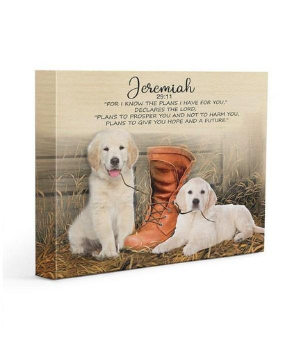 Golden retriever Gallery Wrapped Canvas Prints - I know the plans I have for you