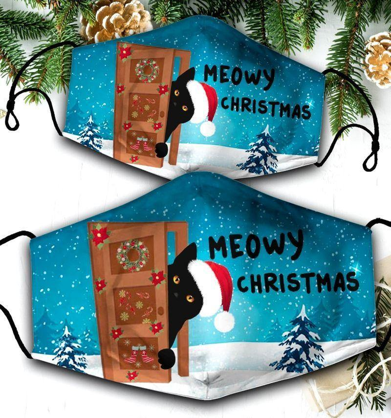 Black Cat Christmas -  Merry Christmas Mask Holiday Mask Winter Cloth Mask