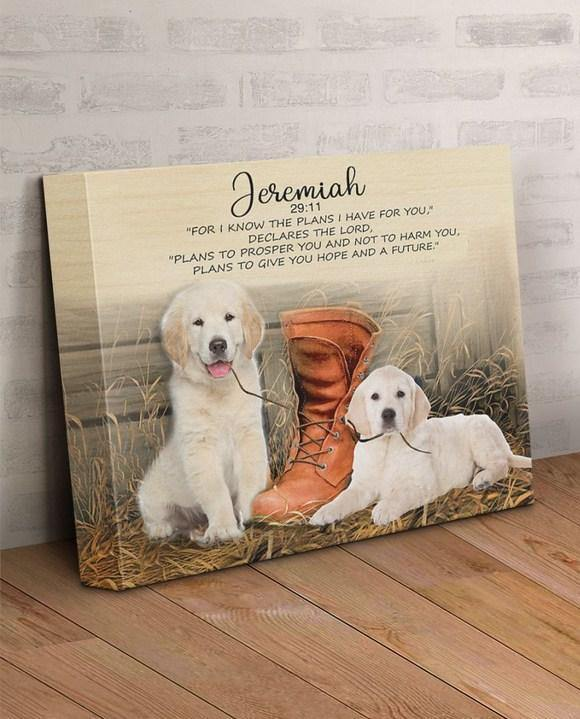 Golden retriever Gallery Wrapped Canvas Prints - I know the plans I have for you - Family Presents - Great Blanket, Canvas, Clothe, Gifts For Family