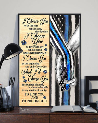 Blue - I Choose You Gallery Wrapped Canvas Prints - I choose you at the begining and the end of every day - Valentine gift for her/him