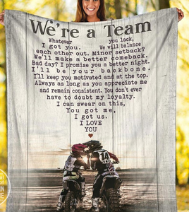 Personalized Blanket Motocross We're A Team Blanket, You Got Me, I Got Us - Valentine gift for husband/wife, boyfriend/girlfriend
