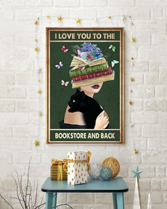 Black Cat Canvas Wall Art - I love you to the bookstore and back - Anniversary Birthday Christmas Housewarming Gift Home