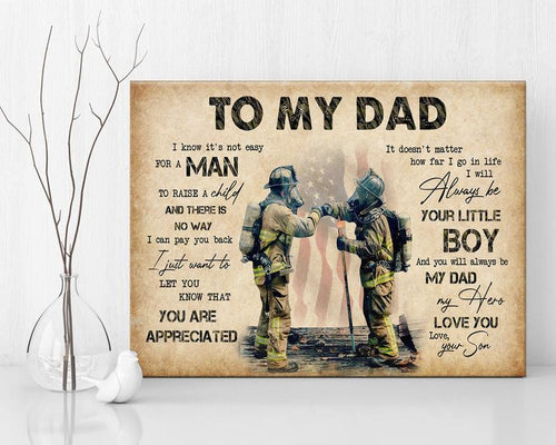 Fathers Day Canvas - To My Dad Father And Son Motivation Wall Art. Inspirational Canvas, Dad Appreciation, Father's Day Gift, Gift For Dad
