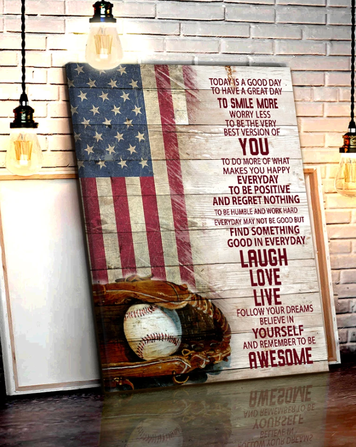 CANVAS - BASEBALL - Today is a good day Wall Art Canvas - Gift for Son/Daughter - Anniversary, Birthday, Valentine, Christmas gift