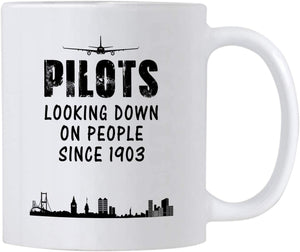 Airplane Pilot Gifts. Funny White Ceramic Novelty Mug For Pilots Looking Down on People Since 1903. Great Gift Idea for Your Men/Women Boss. - Family Presents - Great Blanket, Canvas, Clothe, Gifts For Family