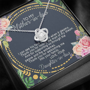 Mother's Day Necklace - Gift For Future Mother In Law From Daughter In Law - 14k White Gold Necklace, Thank You For Raising The Man Of My Dream