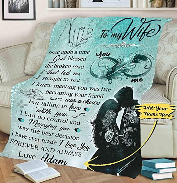 Customized Fleece Blankets for Wife with Husband's Name - Marying you was the best decision - Valentine gift for her