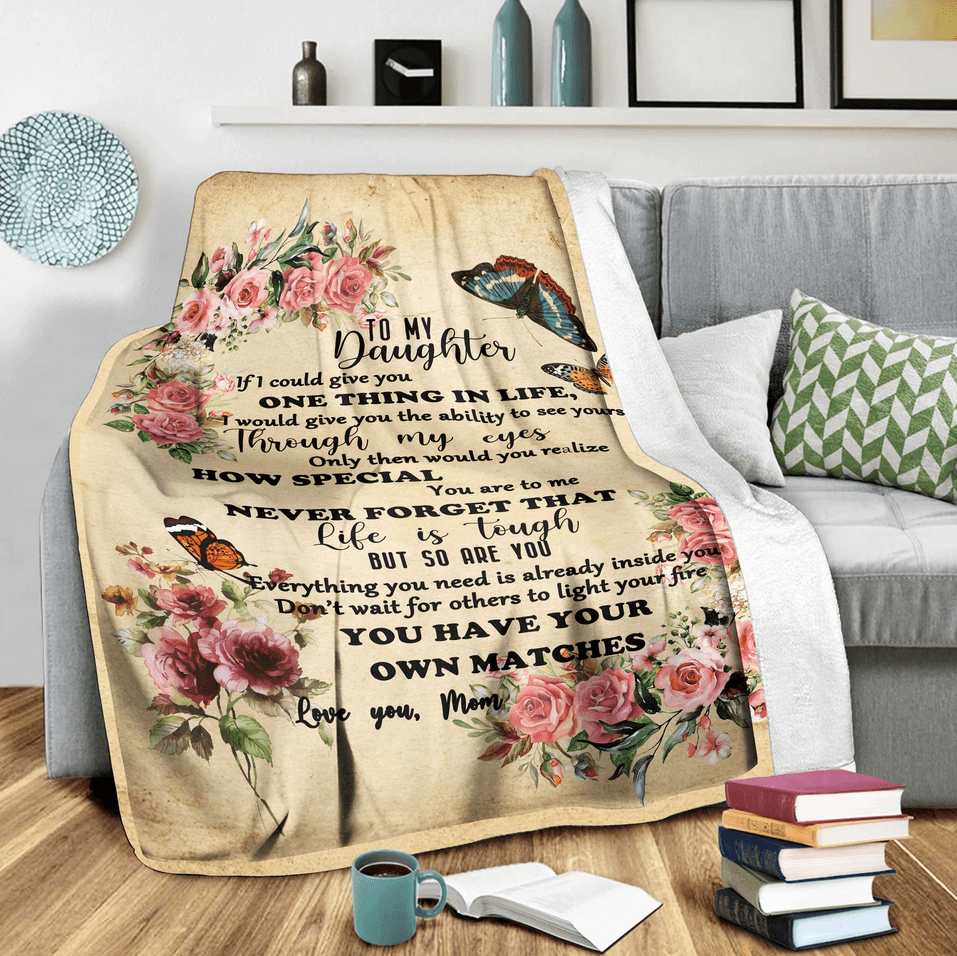 To my daughter butterfly - Fleece Blanket, gift for butterfly lovers, gift for daughter, gift for child